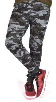 a0a86a17 Купить Спортивные штаны мужские камуфляж хаки черные с серым Nike на  манжетах фото, в интернет ...