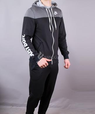 КупитиСпортивний костюм чоловічий теплий Nike чорний з сірим на блискавці з  капюшоном фото 8e3e3c44279f3
