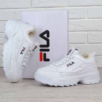 5ec73dc082e1 Купить Кроссовки женские кожаные зимние Fila Disruptor 2 White белые на  меху фото, в интернет ...
