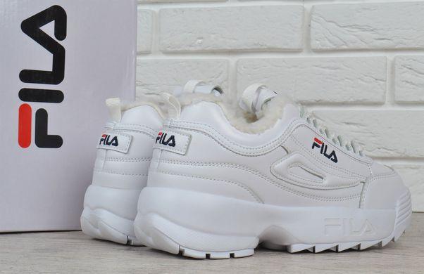 ... Купить Кроссовки женские кожаные зимние Fila Disruptor 2 White белые на  меху фото 5f2d16640fb13