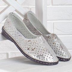 86ea68f9d Купить Балетки женские кожаные мокасины с перфорацией Турция серые серебро  прошитые фото, в интернет-