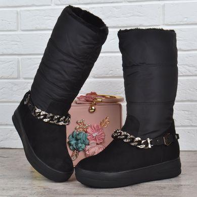 КупитиЧоботи дутики жіночі зимові на платформі Prima d Arte високі чорні з  ланцюгом фото a28e29e04c252