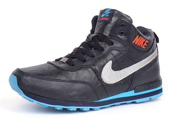 0993ae47ecf821 КупитиКросівки шкіряні зимові чоловічі Nike темно-сині на хутрі фото, в  інтернет-магазині ...