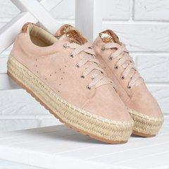 bcb01274f2f4c2 КупитиКеди жіночі еспадрільі на плетеними платформі Pink sneakers пудра  золото фото, в інтернет-магазині