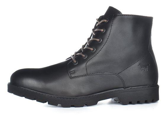 10893ea07 Купить Мужские ботинки кожаные зимние черные завышенные Mustang Португалия  фото, в интернет-магазине обуви ...