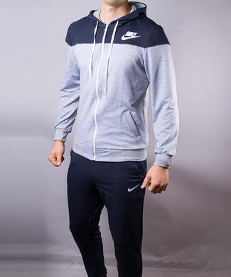 a012380db8d4 Купить Спортивный костюм мужской Nike серый с синим на молнии с капюшоном  фото, в интернет ...