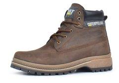 6dcdf8396 Купить Ботинки мужские кожаные зимние CAT Caterpillar brown натуральный мех  фото, в интернет-магазине