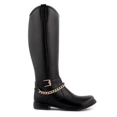a29df471e4672e КупитиЧоботи жіночі гумові високі чорні на блискавці Beauty Girls з  ланцюгом фото, в інтернет- ...