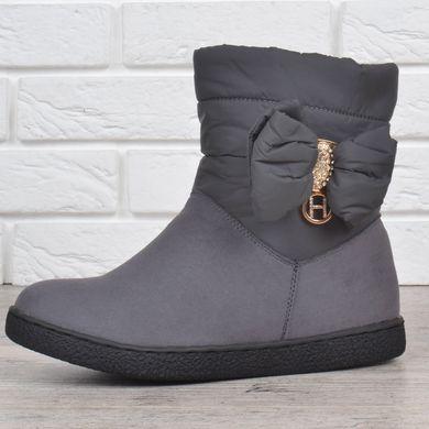 ᐉ Купити Дутики жіночі зимові чоботи Lorbacsa сірі з бантом – в ... bf317f515df3b