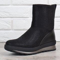 КупитиДутики жіночі зимові чоботи на платформі Crystal чорні зі стразами  фото b0b12c74b3bad