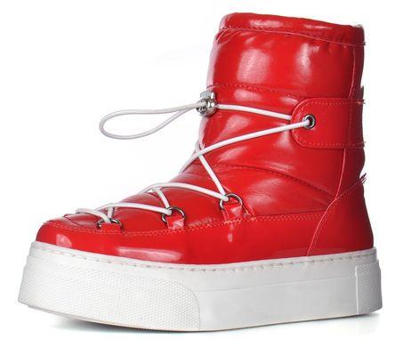 КупитиДутики жіночі зимові чоботи на платформі червоні Red winter boots  фото 6d4cdc5fe6547