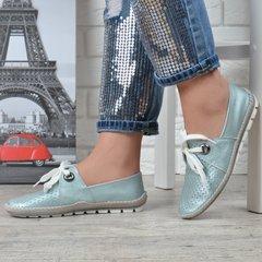 5dc6db715a5d0d КупитиМокасини жіночі шкіряні прошиті Туреччина ніжно блакитні Blue pearl  фото, в інтернет-магазині взуття