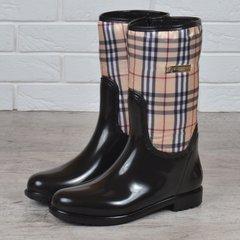 acc139a99cbc8b Купити. КупитиГумові чоботи жіночі високі Burberry style London на блискавці  чорні бежеві фото, в інтернет-