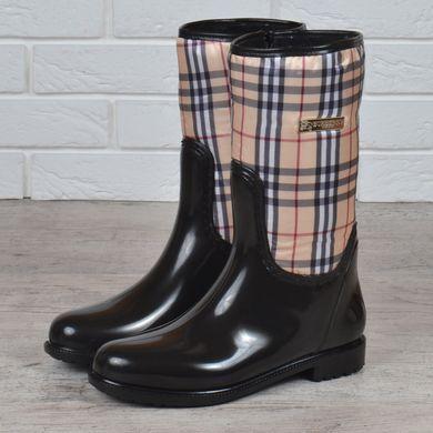 КупитиГумові чоботи жіночі високі Burberry style London на блискавці чорні  бежеві фото 7f445b987d4e4