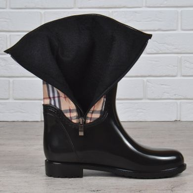 ... КупитиГумові чоботи жіночі високі Burberry style London на блискавці  чорні бежеві фото 3a4ac5c714b8c