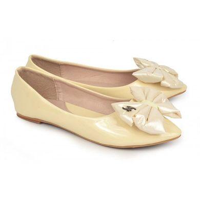 ᐉ Купити Балетки лакові лодочки бежеві з бантом Chanel – в інтернет ... 3b2e435dc8083