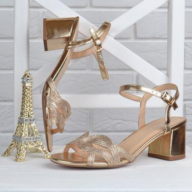 cbb40c134 Купить Босоножки женские на широком устойчивом каблуке Cleopatra золотистые  фото, в интернет-магазине обуви ...