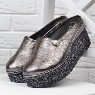 b7d806103 Купить Сабо женские кожаные на танкетке Anna Lucci металлик серебро фото, в  интернет-магазине ...