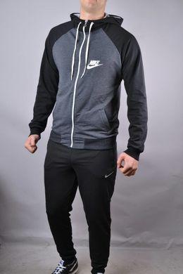 edc6ffbc Купить Спортивный костюм мужской Nike черный с серым черные плечи на молнии  с капюшоном фото, ...