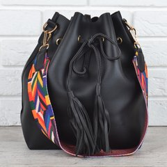 КупитиСумка жіноча з гаманцем яскравий ремінь Valentino style чорна фото f952d77d65ac2