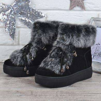 d5c05e301 Купить Ботинки женские зимние замшевые натуральный мех на платформе Rosso  опушка кролик фото, в интернет ...