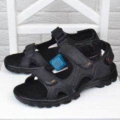 8af81906 Купить Сандалии мужские кожаные спортивные Restime in black черные на  липучках фото, в интернет-