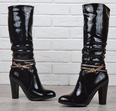760c33fa8 ... Купить Сапоги женские на каблуке лакированные Rossi черные весна-осень  фото, в интернет- ...