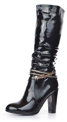 c8fe3320f Купить Сапоги женские на каблуке лакированные Rossi черные весна-осень  фото, в интернет- ...