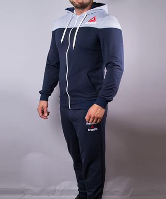 ce9ce1ab858920 КупитиСпортивний костюм чоловічий Reebok синій з сірим на блискавці з  капюшоном фото, в інтернет- ...