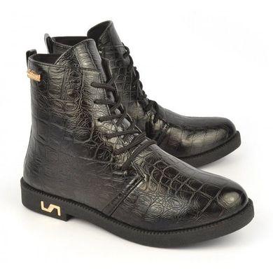 237b54ce Купить Ботинки женские черные на шнуровке и молнии Ricci Украина фото, в  интернет-магазине ...
