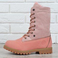 КупитиЧеревики жіночі зимові на шнурівці натуральна опушка Bessky  Waterproof рожеві фото 4404f3a9dedc8