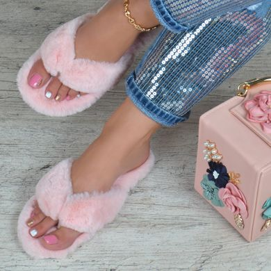 fe7dfa56dea1d2 ... КупитиТапочки жіночі хутряні в'єтнамки Туреччина Comer пудра рожеві  фото, в інтернет-магазині ...