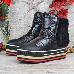 КупитиДутики жіночі черевики на платформі з натуральної опушкою Ecstasy  чорні фото 3b2aacc7111c7
