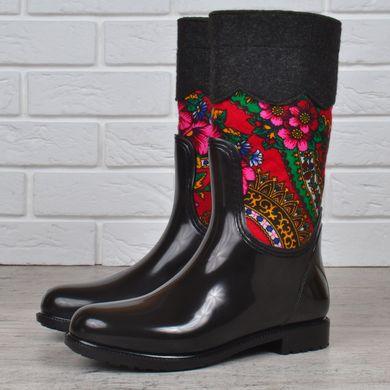 ᐉ Купити Гумові чоботи жіночі високі Chale повстяні з хусткою чорні ... 8ca12b2196b5b