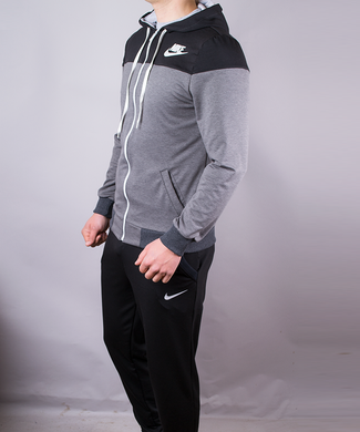 6556f6f6b7cb Купить Спортивный костюм мужской Nike черный с серым на молнии с капюшоном  фото, в интернет ...