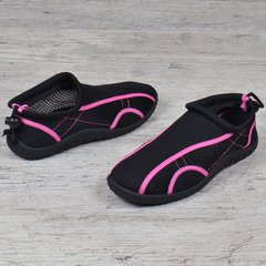 2b130a2f00d8 Купить Акваобувь женская для плавания тапочки для кораллов и моря черные с  розовым фото, в