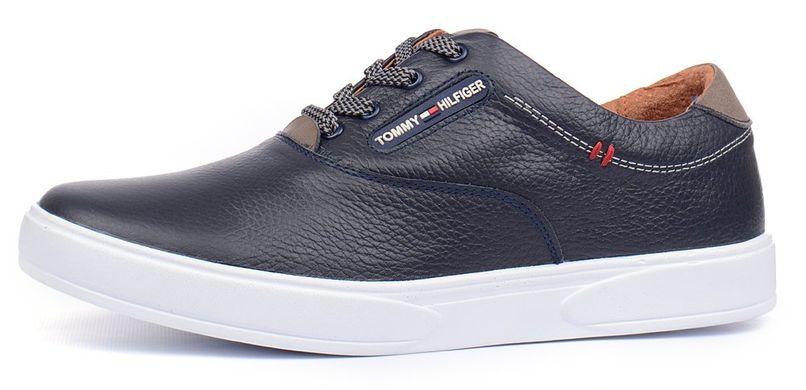 Купить Кеды слипоны мужские кожаные Tommy Hilfiger синие на шнуровке фото 11f2b6d021e26