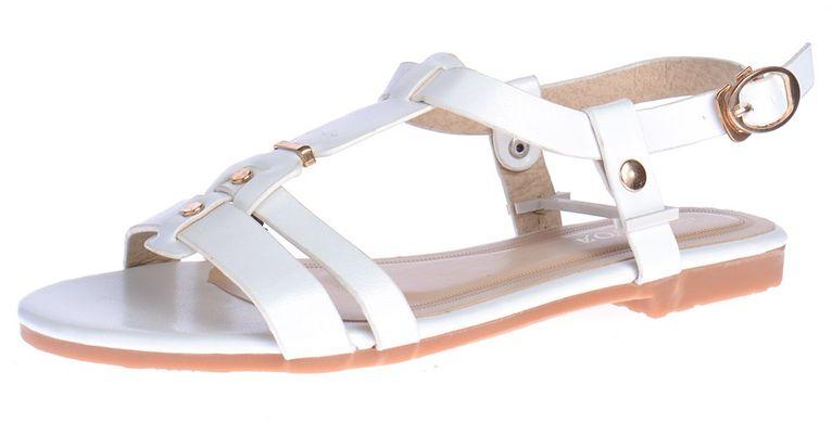 ᐉ Купити Босоніжки жіночі білі Rivets плоский хід на ремінці – в ... 47b213b6a9240