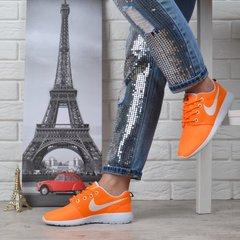 b431b6a88e8242 КупитиКросівки жіночі текстильні Nike Roshe Run помаранчеві з білим фото, в  інтернет-магазині взуття