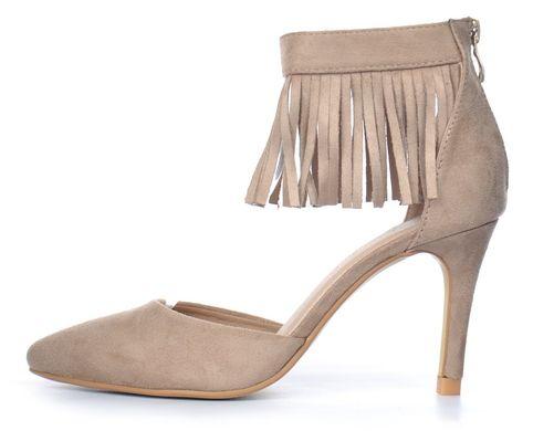 ᐉ Купити Туфлі човники жіночі бежеві на підборах з бахромою Lady S ... 57efd56cc1efe