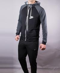 6bee2b64 Купить Спортивный костюм мужской Nike черный серые плечи на молнии с  капюшоном фото, в интернет