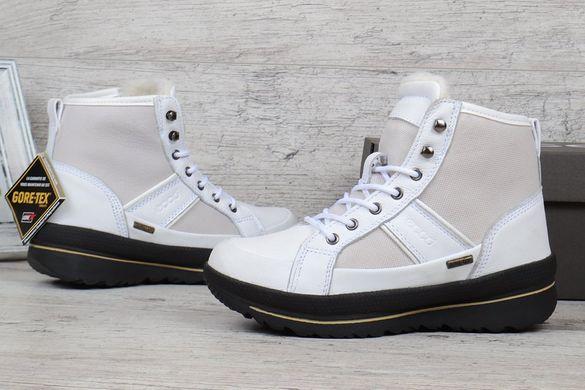 39fefa1d7 ... Купить Ботинки женские зимние кожаные Ecco Gore-tex Hill white белые  фото, в интернет ...