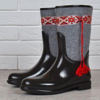 КупитиГумові чоботи жіночі високі Ukrainian fashion повстяні з орнаментом  фото 34581ee94d002