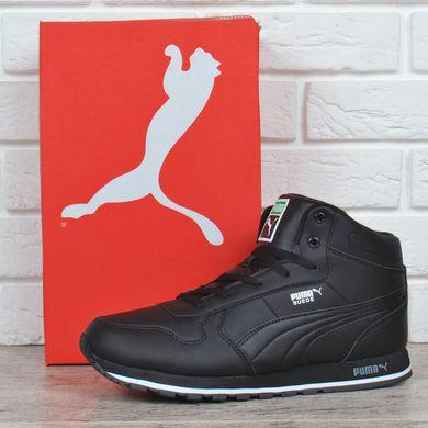 ᐉ Купить Кроссовки мужские кожаные зимние Puma Suede черные на меху ... a9d8f6bc8de30