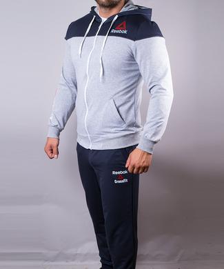 Купить Спортивный костюм мужской Reebok Crossfit синий с серым на молнии с  капюшоном фото e4e1183d6395e