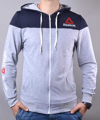 ... Купить Спортивный костюм мужской Reebok Crossfit синий с серым на  молнии с капюшоном фото 01d72d071145a