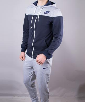 d1e33c4b155176 КупитиСпортивний костюм чоловічий Nike синій з сірим на блискавці з  капюшоном фото, в інтернет- ...
