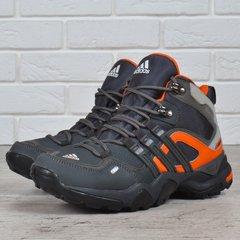 КупитиТермо кросівки шкіряні Adidas Gore Tex Terrex сірі з помаранчевим  фото f8528ea84bc69