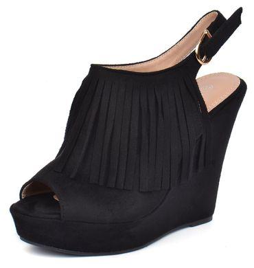 ᐉ Купити Босоніжки жіночі чорні на танкетці з бахромою Tina Польща ... be34a5cfc697c