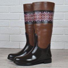 КупитиГумові чоботи жіночі високі на блискавці з орнаментом чорні з  коричневим фото e308613192954